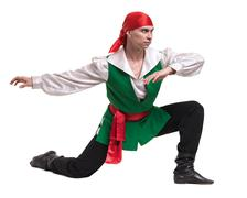 Dancing man wearing a pirate costume. Isolated on white in full length - stock photo