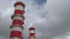 Red and white chimney of oil refinery Stock Footage