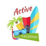 Summer Active Vacation Concept Illustration Stock Illustration