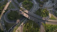 Interchange roads and car traffic, Rio De Janeiro, Brazil Stock Footage