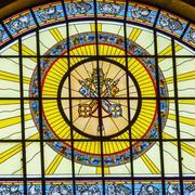 Catholic Keys Stained Glass Basilica Saint Stephens Cathedral Budapest Hungar - stock photo