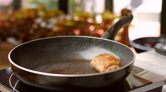 Meat and herbs on pan. Stock Footage