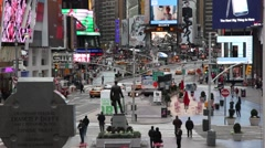 Tourists taking picture in times square new york Stock Footage