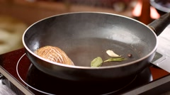 Frying pan with meat. Stock Footage