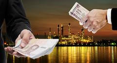 Investors invest in Oil refinery industrial concept Stock Photos