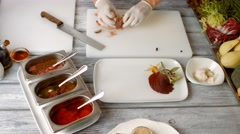 Hands put meat on plate. Stock Footage