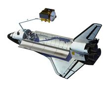 Space Shuttle Deploying Satellite Over White Background - stock illustration