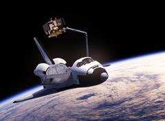 Space Shuttle Deploying Communication Satellite Stock Illustration