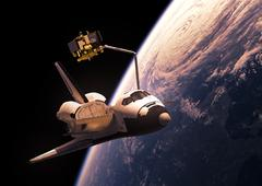 Space Shuttle Deploying Satellite Stock Illustration