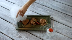 Pieces of meat on tray. Stock Footage