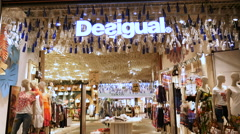 DESIGUAL fashion store luxury brand facade Stock Footage