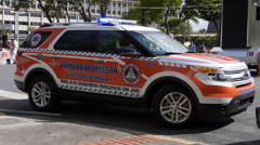 Police emergency response vehicle during protest  Stock Footage