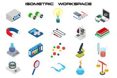 Isometric science icons with 3D design, electronics and chemistry equipment Stock Illustration