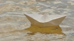 Ship Made of White Paper is Floating by Water Childish Amusement Game Dream Stock Footage