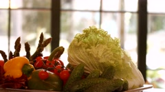 Chinese cabbage and red tomatoes. Stock Footage