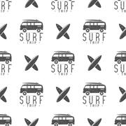 Surfing trip pattern design. Summer seamless  with surfer van, surfboards Stock Illustration