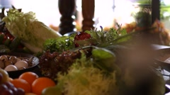 Eggs and chinese cabbage. Stock Footage