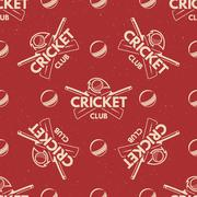 Sport pattern. Cricket retro background. Seamless of accessories. Bat ball Stock Illustration