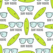 Surfing patterns. Summer seamless design with surfer glasses, surfboards. Cute Stock Illustration