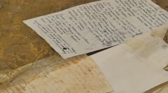 "Manuscripts Floats on the Water Hand-Written Paper of ""olesya"" Novelette by Stock Footage"