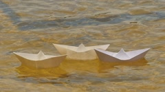 Three White Paper Ships Are Floating by River Childish Amusement Game Dream Stock Footage