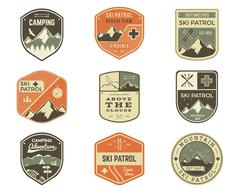 Set of Retro style Ski Club, Patrol Labels. Classic Mountain elements. Winter or Stock Illustration