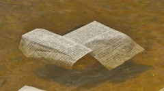 "Hand-Written Paper Floats on the Water Manuscripts of ""olesya"" Novelette by Stock Footage"