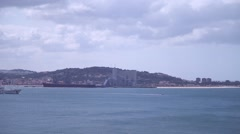 Research ship in the river Tagus in Lisbon Portugal Stock Footage