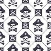 Vector seamless pattern with skulls, old pistols and bones. Grunge effect. Use Stock Illustration
