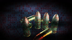 Bullets money death cost of life Stock Footage