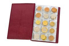 Collection of world money coins in album Stock Photos
