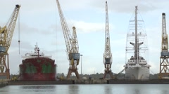 Ships during repair In dry docks Shipyard Stock Footage