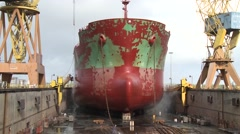 Ship during repair In dry docks Shipyard timelapse Stock Footage