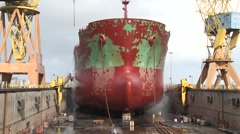 Ship during repair In dry docks Shipyard Stock Footage