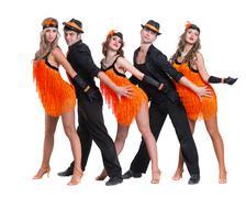 Cabaret dancer team dancing. Isolated on white background in full length Stock Photos