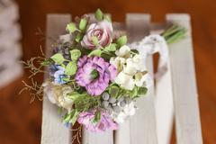Beautiful wedding bouquet made of polymer clay-2 Stock Photos