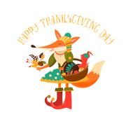 Thanksgiving day. Cute fox with turkey in the basket - stock illustration