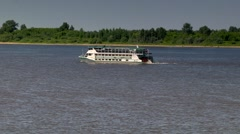 Wheel ship on the river Volga, Russia, in clear weather Stock Footage