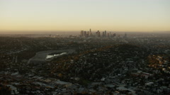 Aerial view of urban of Los Angeles at sunrise Stock Footage