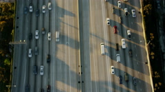 Aerial vertical view of busy freeway system Los Angeles USA Stock Footage