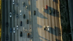 Aerial view American freeway road system in Los Angeles California Stock Footage