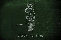 net collecting falling clocks, catching time - stock illustration