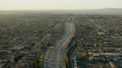 Aerial vertical view of traffic and commuters on Los Angeles freeways Stock Footage