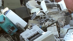 recycle computer monitor on computer warehouse in recycling center - stock footage