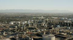 Aerial view of oil refinery Los Angeles USA Stock Footage