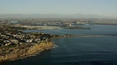 Aerial sunrise view of Terminal Island on coast of Los Angeles California Stock Footage