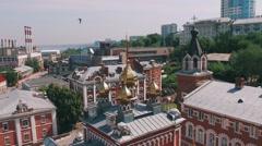 Aerial of Orthodox monastery complex Stock Footage