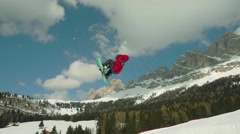 Snowboarder jumping super slow motion.mp4 Stock Footage