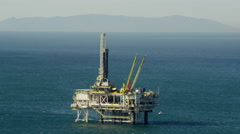 Aerial view of Pacific Ocean gas drilling platform Los Angeles USA Stock Footage