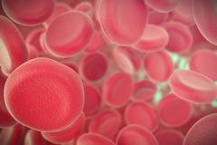 Human blood cells with focus effect. 3d illustration Stock Illustration